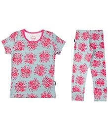 Claesens Short Sleeves Tee and Legging Set - Rose Print