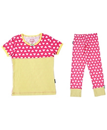 Claesens Short Sleeves Tee and Legging Set Heart Print - Yellow