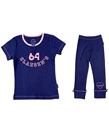 Claesens Short Sleeves Tee and Legging Set 64 Print - Blue