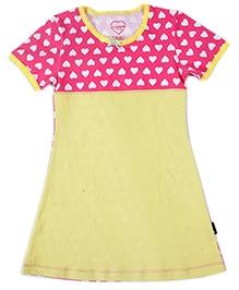 Claesens Short Sleeves Nighty Heart Print - Yellow