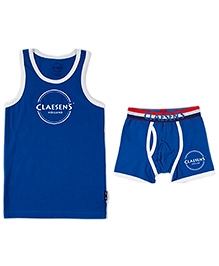 Claesens Pack Of Sleeveless Vest And Boxer - Blue