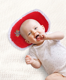 Babyhug Baby Pillow Oval Shape Red - Flower Print