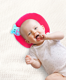 Babyhug Shape Supporter Pillow with Hippo Motif  - Pink