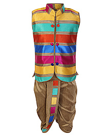 SAPS Sleeveless Kurta And Dhoti Set - Multi Color