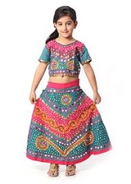 Kidzblush Multicolor Ghagra Choli Set with Mirror Work
