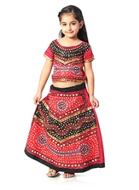 Kidzblush Ghagra Choli Set with Mirror Work - Red and Black