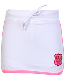 SAPS Plain Short Skirt With Attached Shorts White
