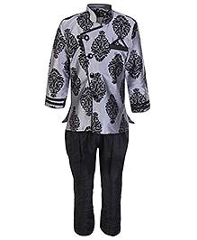 SAPS Full Sleeves Kurta With Jodhpuri Style Pajama - Grey
