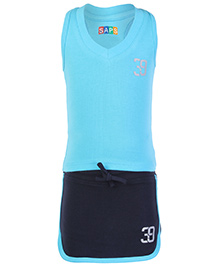 SAPS Plain Sleeveless Racer Back Top With Shorts Style Skirt Light Blue