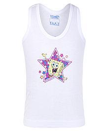 Spongebob Sleeveless Printed Vest - White
