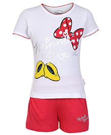 Disney Half Sleeves T Shirt and Shorts Set  - Minnie Mouse Print