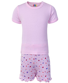 SAPS Half Sleeves Top And Printed Shorts - Pink