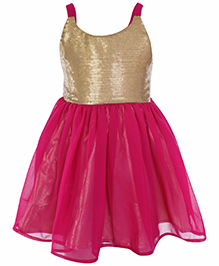 SAPS Sleeveless Frock with Sequence Bodice - Pink