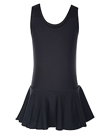 Veloz Sleeveless Frock Style Swim Wear - Black