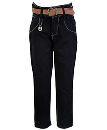 Gini & Jony Fixed Waist Full Length Jeans With Belt Black