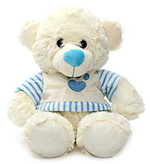 Play N Pets Teddy Bear Soft Toy with Clothes Cream - 30 cm