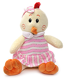 Play N Pets Birdy Soft Toy with Clothes Cream and Pink - 20 cm