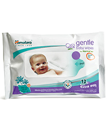 Himalaya Gentle Baby Wipes 12 Pieces With Herbs And Indian Lotus Combination To Keep Baby's Skin Soft &...