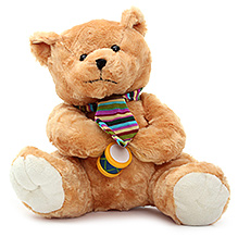 Play N Pets Teddy Bear Soft Toy with Drum Light Brown - 25 cm