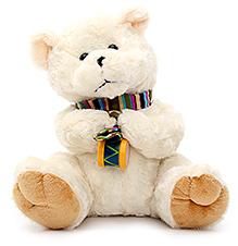 Play N Pets Teddy Bear Soft Toy with Drum Cream - 25 cm