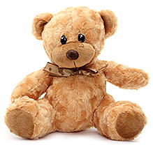 Play N Pets Teddy Bear Soft Toy with Ribbon Light Brown - 25 cm
