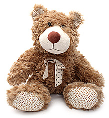 Play N Pets Teddy Bear Soft Toy with Ribbon Brown - 32 cm