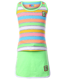 SAPS Stripes Sleeveless Racer Back Top with Shorts Style Skirt - Green