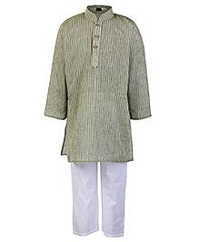 Babyhug Full Sleeves Self Stripe Kurta Pajama Set - Olive Green