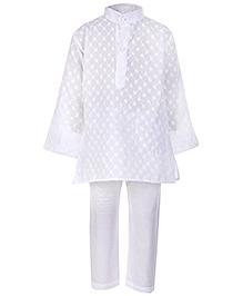 Babyhug Full Sleeves Chikan Embroidery Kurta And Pajama - White