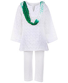 Babyhug Full Sleeves Kurta and Churidar Set - Green Dupatta