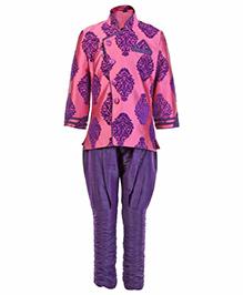 SAPS Full Sleeves Kurta With Jodhpuri Style Pajama - Pink