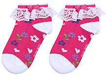 Mustang Ankle Length Socks Lace Detail Dark Pink - Floral Print
