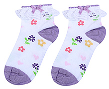 Mustang Ankle Length Socks Lace Detail Purple - Floral Print