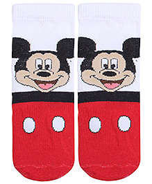 Disney Mickey Mouse Print Socks -  White and Red