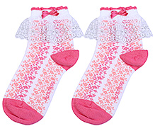Mustang Ankle Length Socks Peach - Lace Detail
