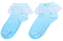 Mustang Ankle Length Socks Sky Blue - Lace Detail