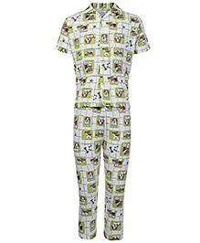 Ollypop Half Sleeves Night Suit Green - Puppy Print