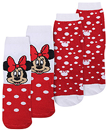 Disney Minnie Mouse Print Set Of 2 Socks - White and Red