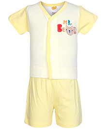 Little Half Sleeves Front Open T-Shirt And Shorts Set