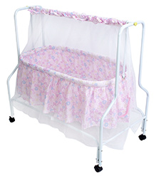 Fab N Funky Baby Cradle With Mosquito Net Pink - Alphabets Print