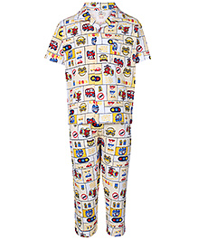 Fido Half Sleeves Night Suit Vehicle Print - Yellow