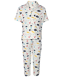 Fido Half Sleeves Night Suit Submarine Print - Black and Yellow