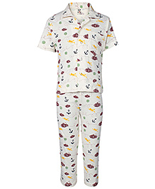 Fido Half Sleeves Night Suit Submarine Print - Maroon and Yellow