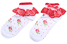 Mustang Ankle Length Socks Lace Detail - Floral Print