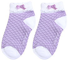 Mustang Ankle Length Socks Diamond Print - Light Purple