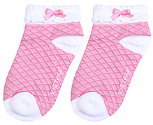 Mustang Ankle Length Socks Diamond Print - Pink