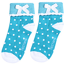 Mustang Ankle Length Polka Dot Print Socks - Aqua Blue