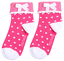 Mustang Ankle Length Polka Dot Print Socks - Dark Pink