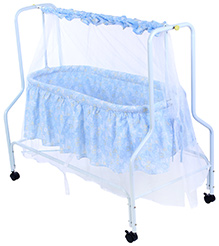 Fab N Funky Baby Cradle With Mosquito Net Blue - Alphabets Print