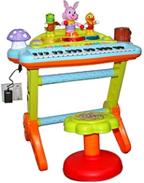 Adraxx Formative Education Mini Electronic Organ With Karaoke Mike And Animal Band